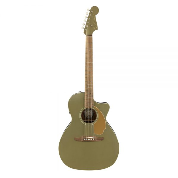 Fender California Newporter Player Medium-Sized Acoustic Guitar, Olive Satin
