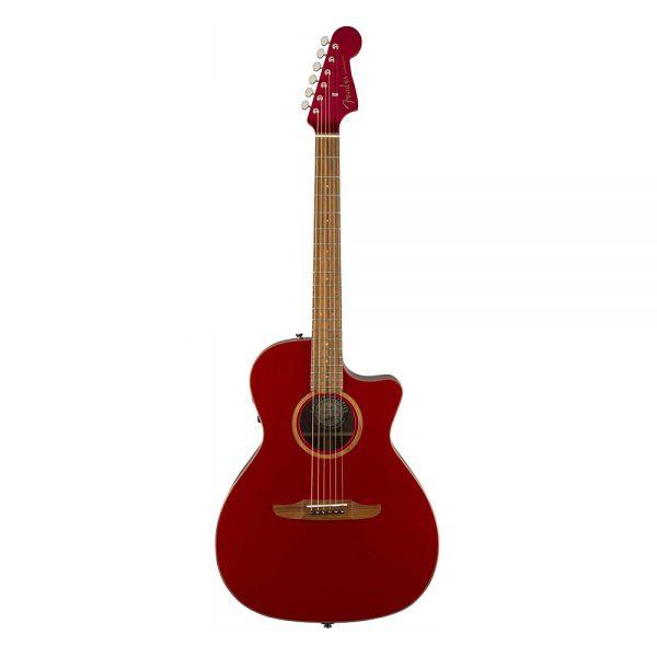 Fender Newporter Classic Medium-Sized Acoustic Guitar w-Bag, Hot Rod Red Metallic